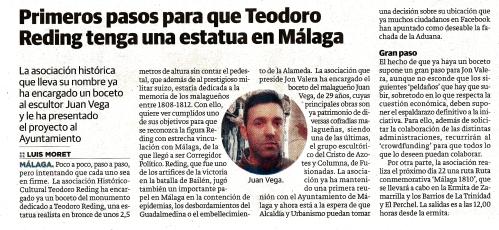Diario_SUR_ Luis_Moret_Primeros_pasos para_que_teodoro_Reding_tenga_una_estatua_en_Malaga_proyecto_monumento_Asociacion_Historico_Cultural