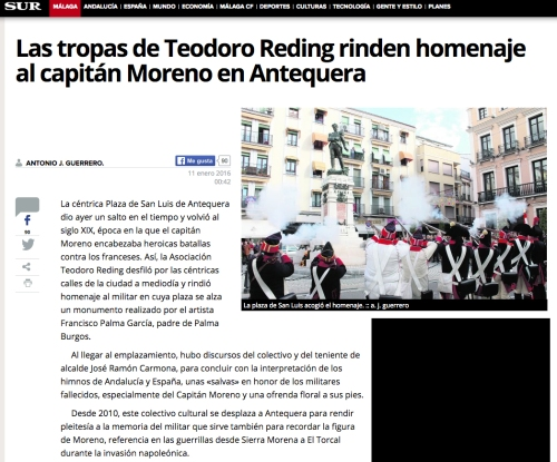 Recorte_prensa_diario_sur_homenaje_capitan_vicente_moreno_baptista_regimiento_infanteria_fijo_malaga_por_Asociacion_Historico_Cultural_Teodoro_Reding_Malaga_Regimiento_Reding.jpg