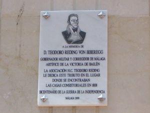 Placa_General_Teodoro_Reding_Bicentenario_Guerra_Independencia_Málaga
